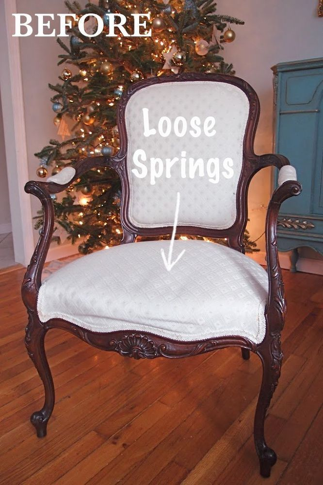 I came across this french chair at a thrift store a couple years ago and it was marked down because the seat springs were loose! Lucky for me, I was feeling adv…