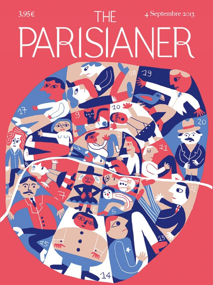 The Parisianer (by Elisa Géhin), the French version of The New Yorker in 100 front covers. Exhibition on 20-23 December at the Cité internationale des arts, Paris