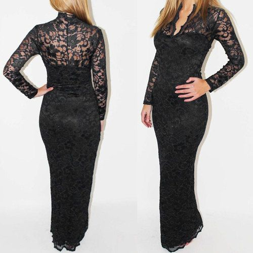 Free Shipping Cheap Women Dresses New Fashion 2014 Long Sleeve Deep V-neck Black White Blue Color Lacing Sexy Full Evening Dress $39.91