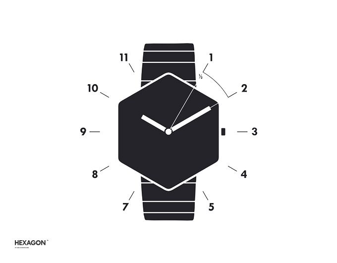 The hexagon shape of the watch that has 6 corners helps to see the time clearly.