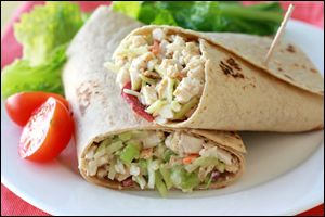 Hungry Girl recipe for guilt-free Chicken Salad wrap. Pin and make today!