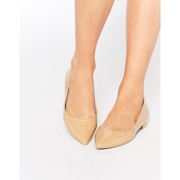 ASOS LOST Pointed Ballet Flats ($16) ❤ liked on Polyvore featuring shoes, flats, beige, ballet shoes, pointed toe shoes, ballet pumps, pointy toe flats and ballet flats