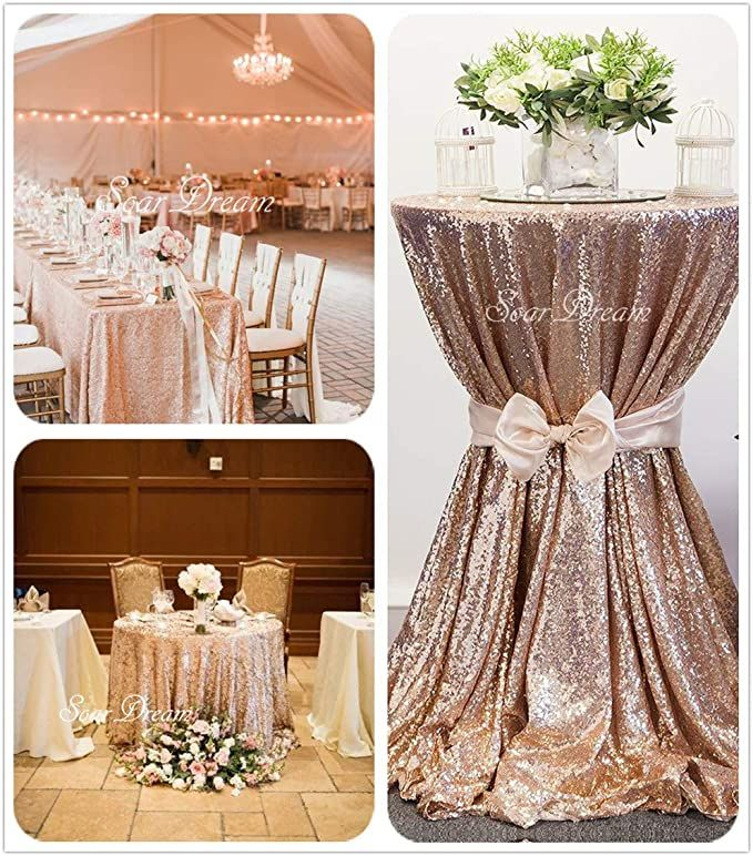 Amazon Com Soardream Sequin Tablecloth Champagne Blush 50 Inch Round Elegant Table Overlay In 2020 Wedding Decor Elegant Gold Sequin Tablecloth Sparkly Wedding Decor