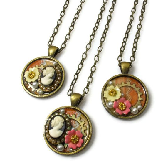DIY mini collage pendants from vintage jewelry http://www.ecrafty.com/c-81-craft-supplies.aspx