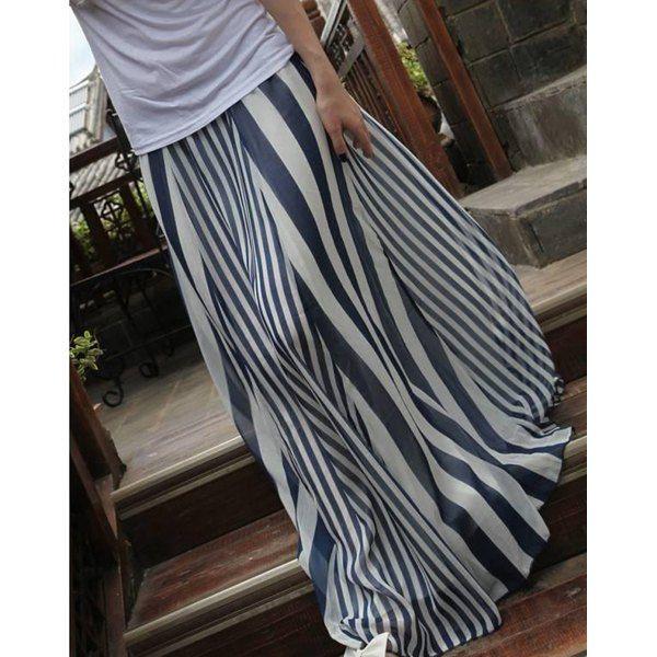 Stylish High Waist Vertical Striped Women's Skirt