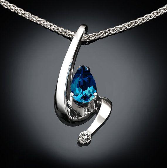 blue topaz necklace - Argentium silver - white sapphire - London blue topaz - wedding - fine jewelry - 3380