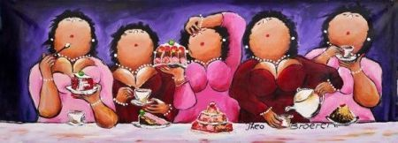 Keeping up appearances Dikke Dames schilderij aan de taart - Te koop - MarktPlaza.nl