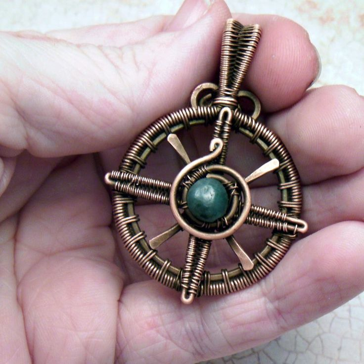 True North compass pendant t WynterCreations -- handwoven copper wire and rough emerald.  #wirework #jewelry #wirewrap