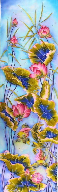 """Батик панно """"Лотосы"""" - Батик,батик панно,панно батик,цветы в батике,батик картина"""