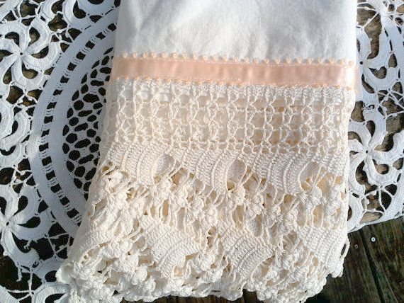 Vintage pillowcase with lace by CottonCreekCottage