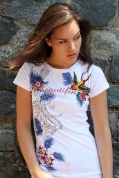 White Tee with BEAUTIFUL in Crystals