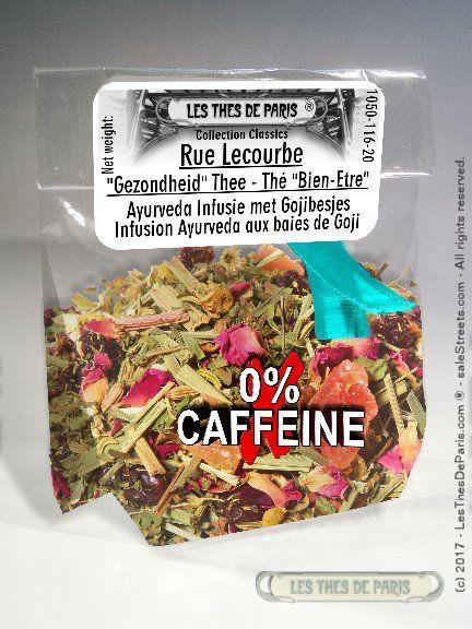 "TEAS OF PARIS 1€99 LesThesDeParis 1050 Store Rue Lecourbe  Rue Lecourbe is a ""Wellness"" tea, Fruit tea Infusion (fruit and flowers tea) with camomile petals, rose petals, jasmine flowers and goji berries"