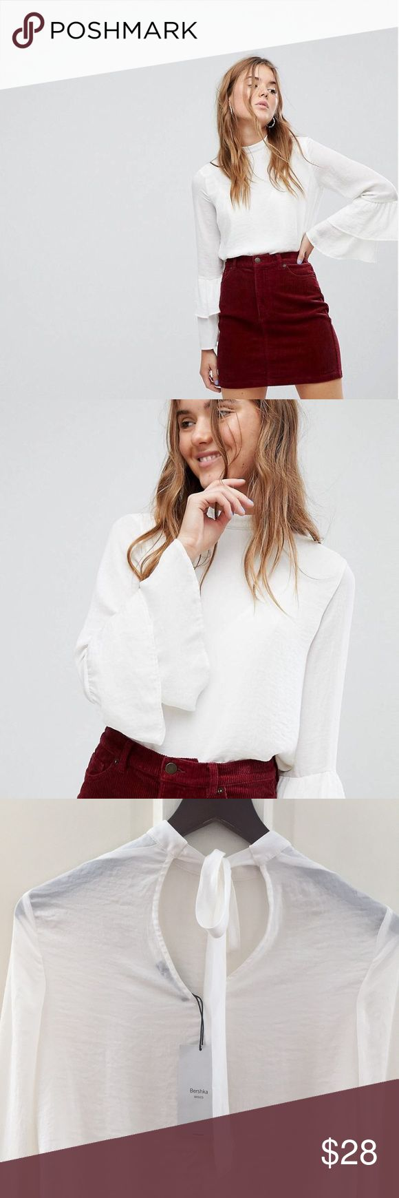 NWT! Blouse - Double Ruffle Sleeve NWT! Double Ruffle Sleeve Top with back neck tie.  100% POLYESTER Bershka Tops Blouses