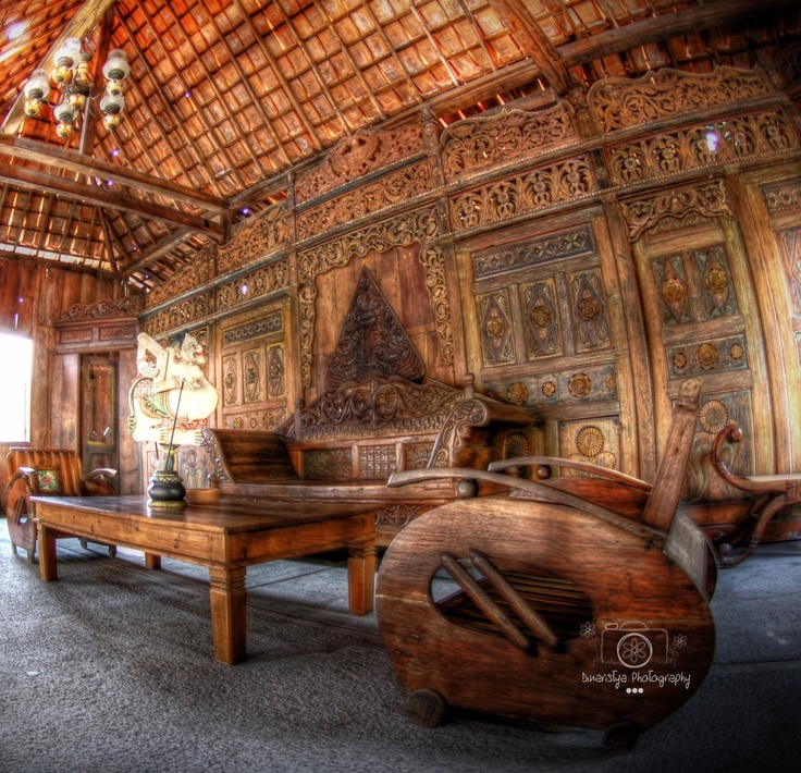 Inside the traditional Javanese house called 'Joglo house'