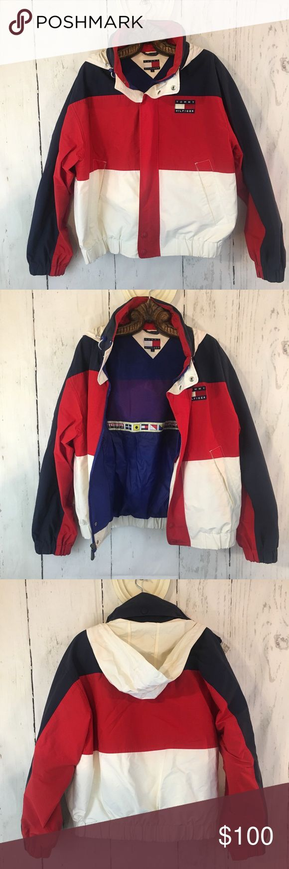 Tommy Hilfiger Jacket Tommy Hilfiger Red, White, and Blue Sailing Jacket. Pre-Owned. Has A Few Stains. See Last 2 Pictures. White Part Has Slightly Yellowed. Red Has Bled A Bit On White On The Front. Not Noticeable Unless Looking For It. 7/10 For Condition. Not A Light Windbreaker. Definitely A Thicker Jacket. Size Large. Tommy Hilfiger Jackets & Coats