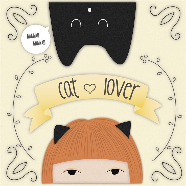 "illustration ""cat lover"" Chica con flequillo"