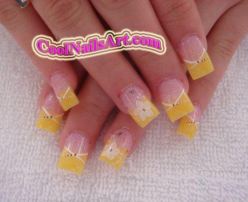 Yellow Glittery w|Yellow Tip Design