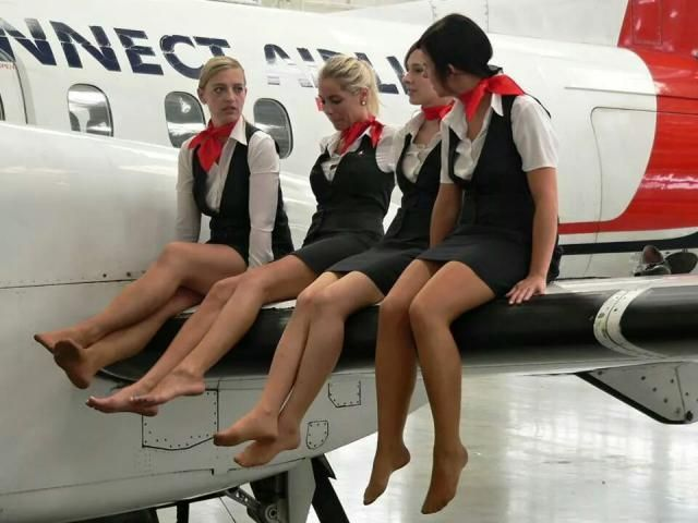 Air hostess pantyhose footjob saf