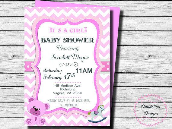 Baby shower girl invitation Pink baby shower invite baby