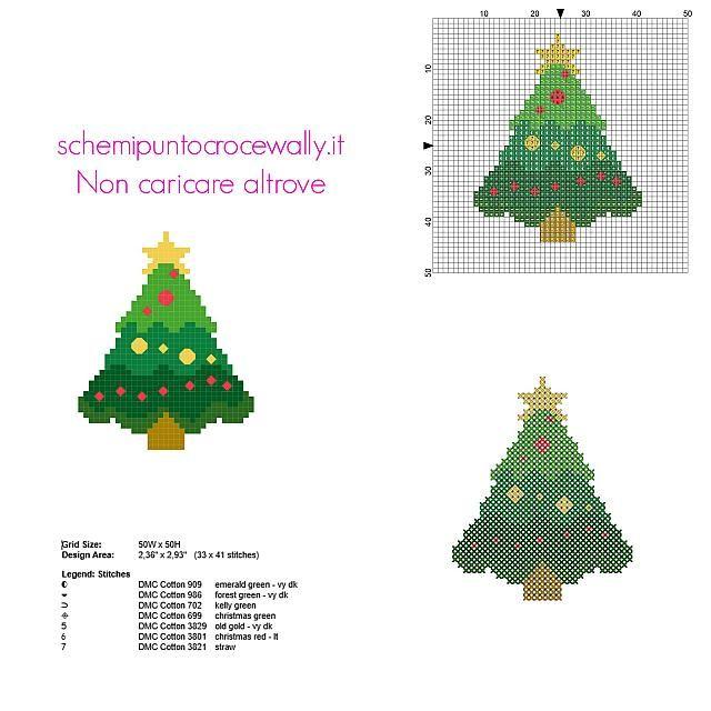 Biglietti Di Natale A Punto Croce.Biglietto Di Natale Punto Croce Gratis Con Albero Addobbato Natale