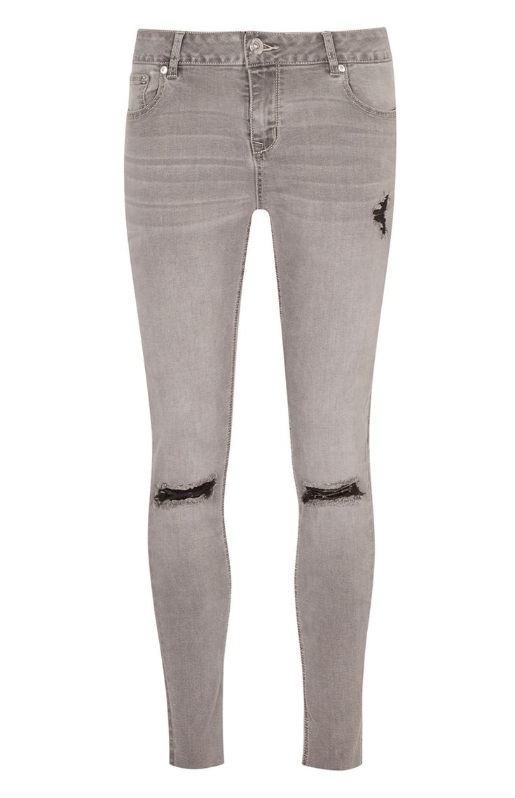 Gray Ripped-Knee Ankle Jeans