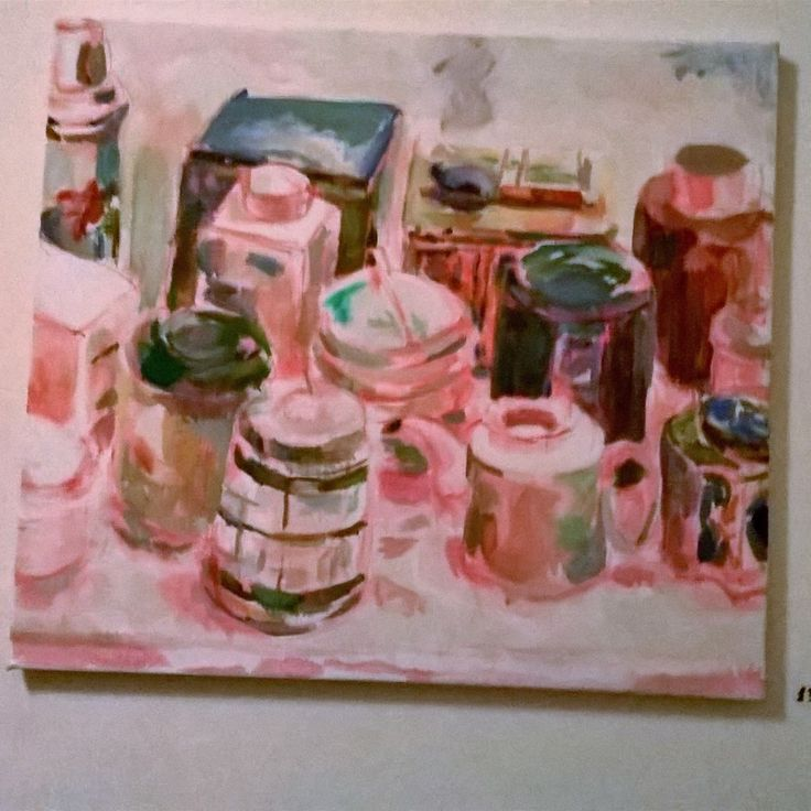 Still life. Studio jars and boxes. Oil on canvas. Painting by May Kotsana