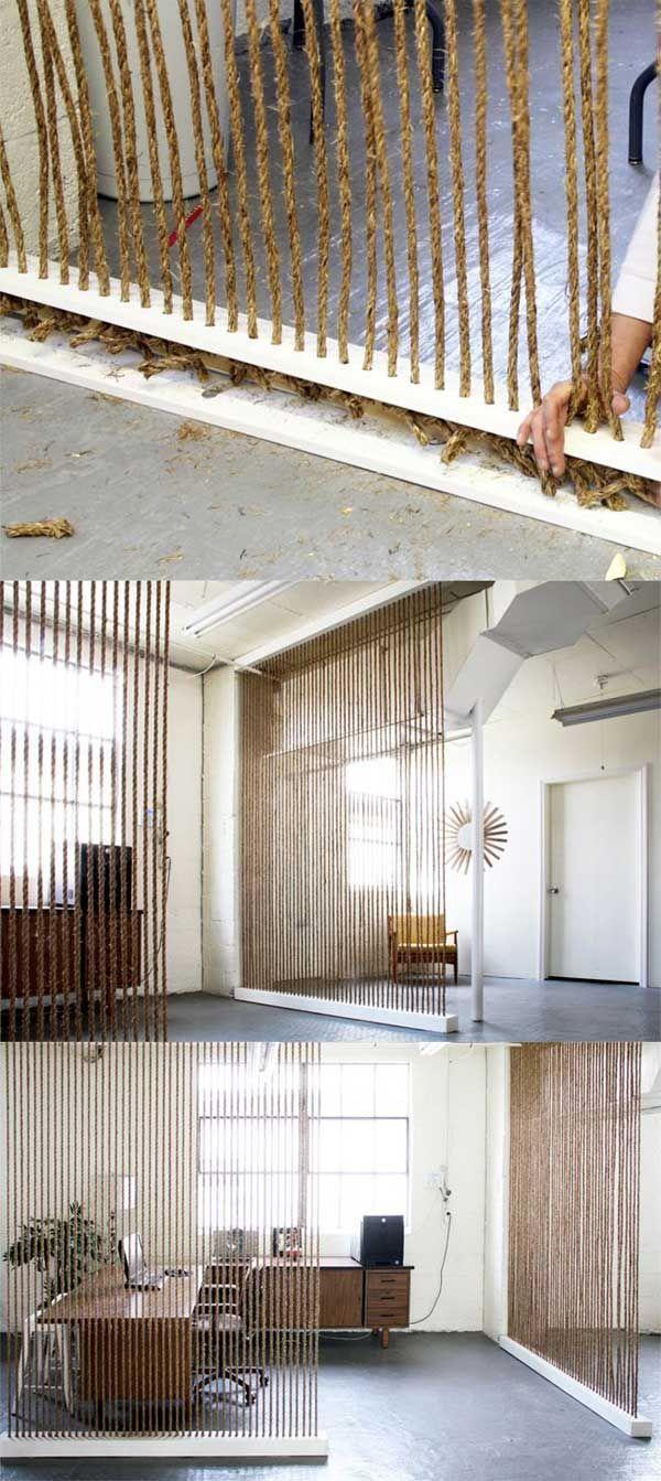 Separar ambientes con cuerda/soga fácil y queda original.