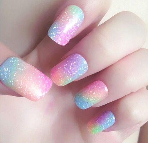 Glitter colorful pastel nails nails nail color pastel nail art glitter nails nail designs