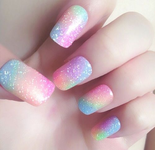 Glitter Colorful Pastel Nails Pictures, Photos, and Images for Facebook, Tumblr, Pinterest, and Twitter
