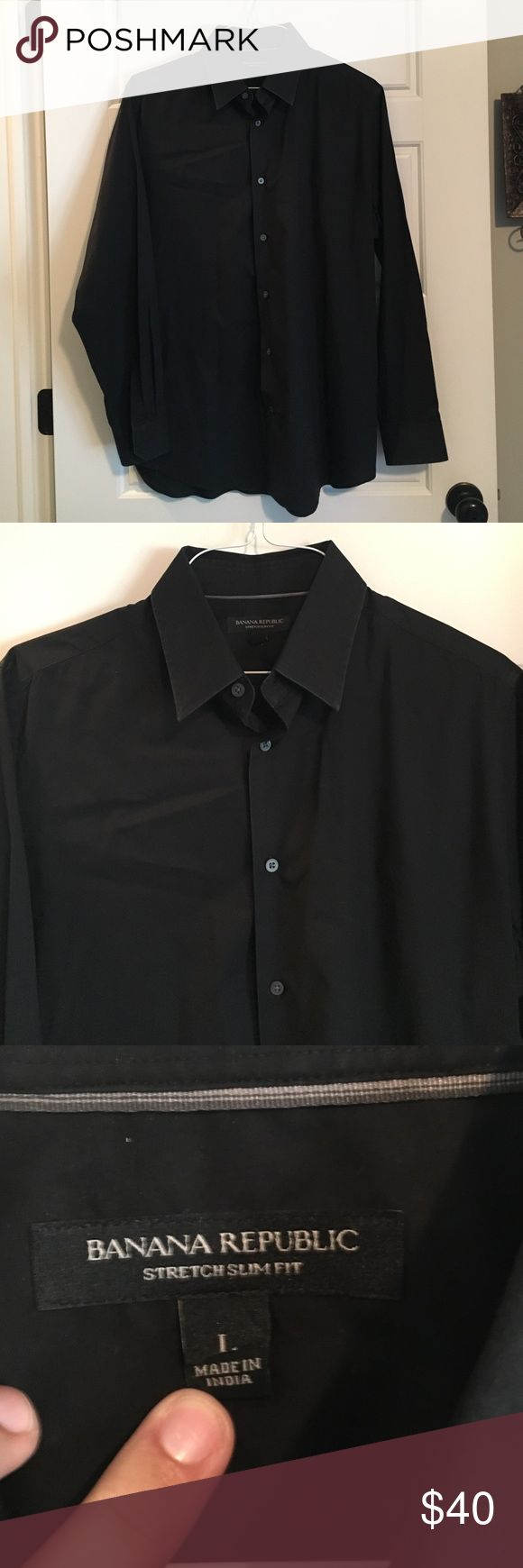 Banana Republic Men's Stretch Slim Fit Dress Shirt Banana Republic Men's Stretch Slim Fit Dress Shirt. Sz:L. Selling for my mother in law.. Solid black and no front pockets. (97% cotton 3% spandex) machine wash or dry clean. Extra buttons included. Banana Republic Shirts Casual Button Down Shirts