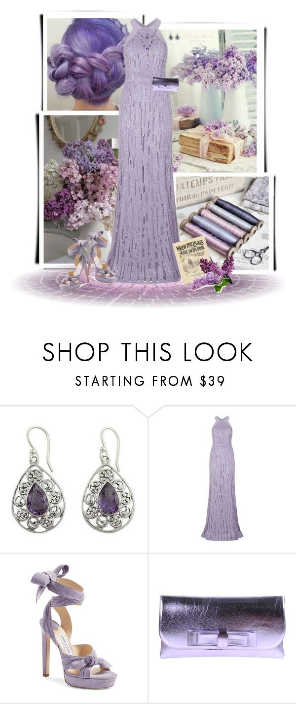 """When the Lilacs are in Bloom"" by dkelley-0711 ❤ liked on Polyvore featuring GURU, NOVICA, Elie Saab, Jimmy Choo, La Fille Des Fleurs, ElieSaab, PROMNIGHT and polyvoreeditorial"