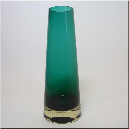 Riihimäen Lasi Oy / Riihimaki turquoise glass vase by Tamara Aladin, design number 1364.