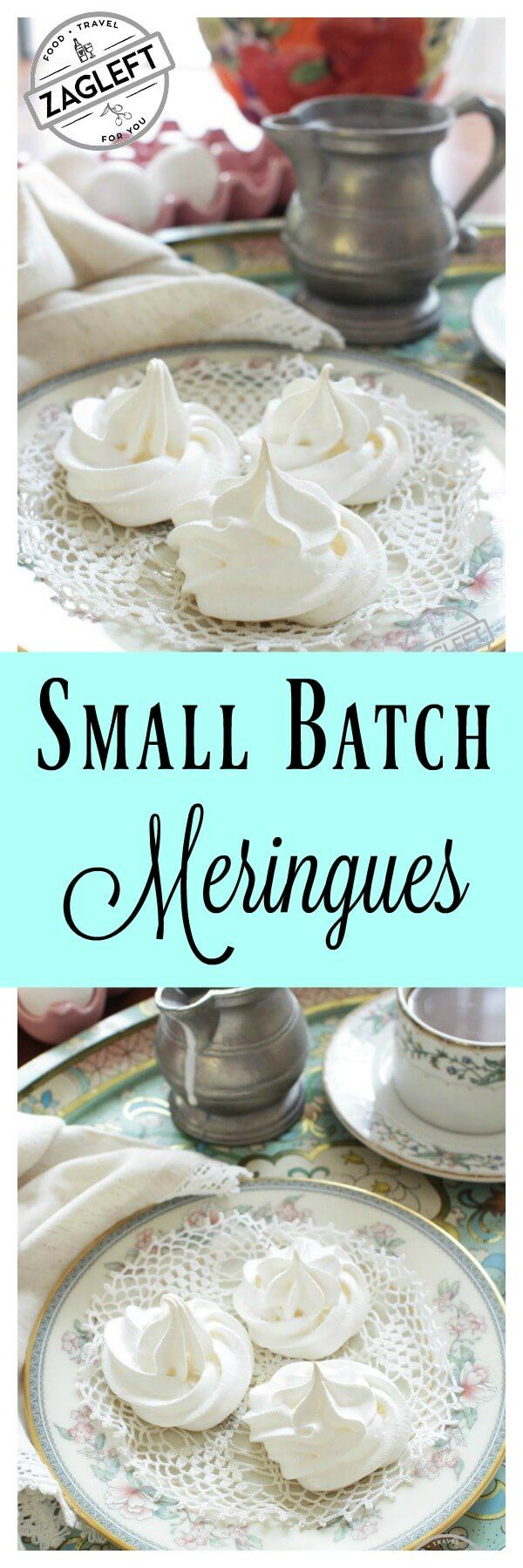 One egg white is all that's needed for these lovely and delicate meringues. This small batch recipe makes five or six melt-in-your mouth meringue cookies. So easy to make too!