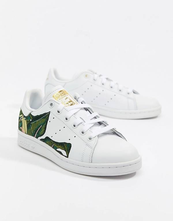 e8404cb3c2eb2 adidas Originals Stan Smith Sneakers In White With Embroidery ...