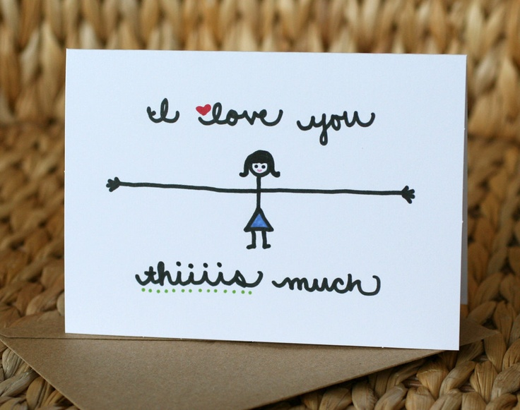 Valentine Card - I Love You Thiiiis Much. $3.50, via Etsy.