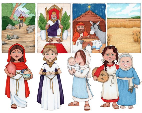 This is a digital clip art set featuring Illustrations of -Abigail -Esther -Mary -Ruth & Naomi -Eve Each character is a separate image and comes