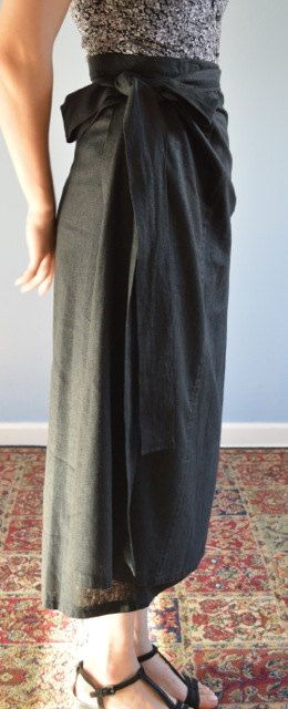 Black Linen Wrap-around Skirt by WrapsRingsandThings on Etsy