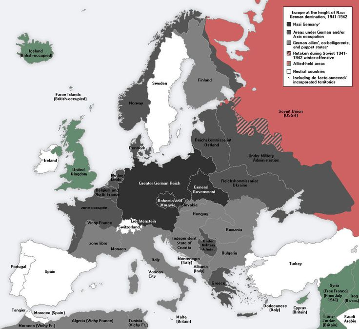 A map showing Europe at the height of the Nazi Reich, 1941-42.