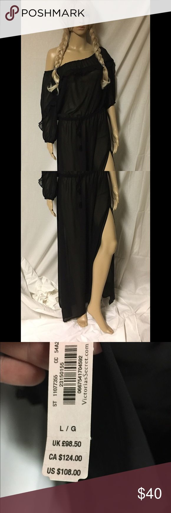 Victoria Secret long black cover up Large NWT, sheer long black cover up, Side slit Victoria's Secret Intimates & Sleepwear Chemises & Slips
