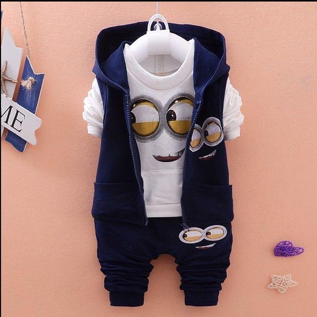 Nice Newest 2015 Autumn Baby Girls Boys Minion Suits Infant/Newborn Clothes Sets Kids Vest+T Shirt+Pants 3 Pcs Sets Children Suits - $33.42 - Buy it Now!