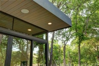 stained wood soffit