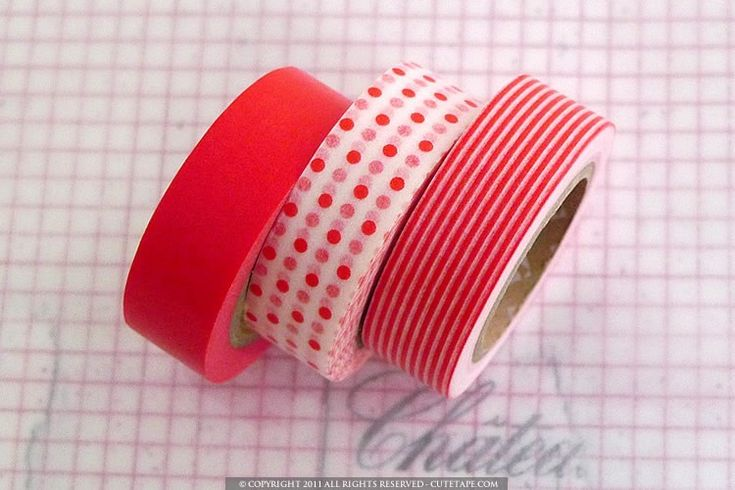 Japanese Paper Washi Tape Mix, Red by Pretty Tape - eclectic - desk accessories - Etsy