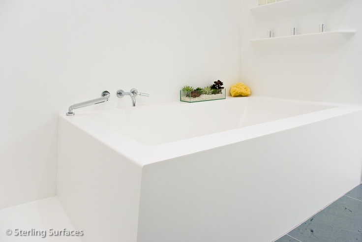 Corian custom bath  Fabricated by Sterling Surfaces  www.sterlingsurfaces.com