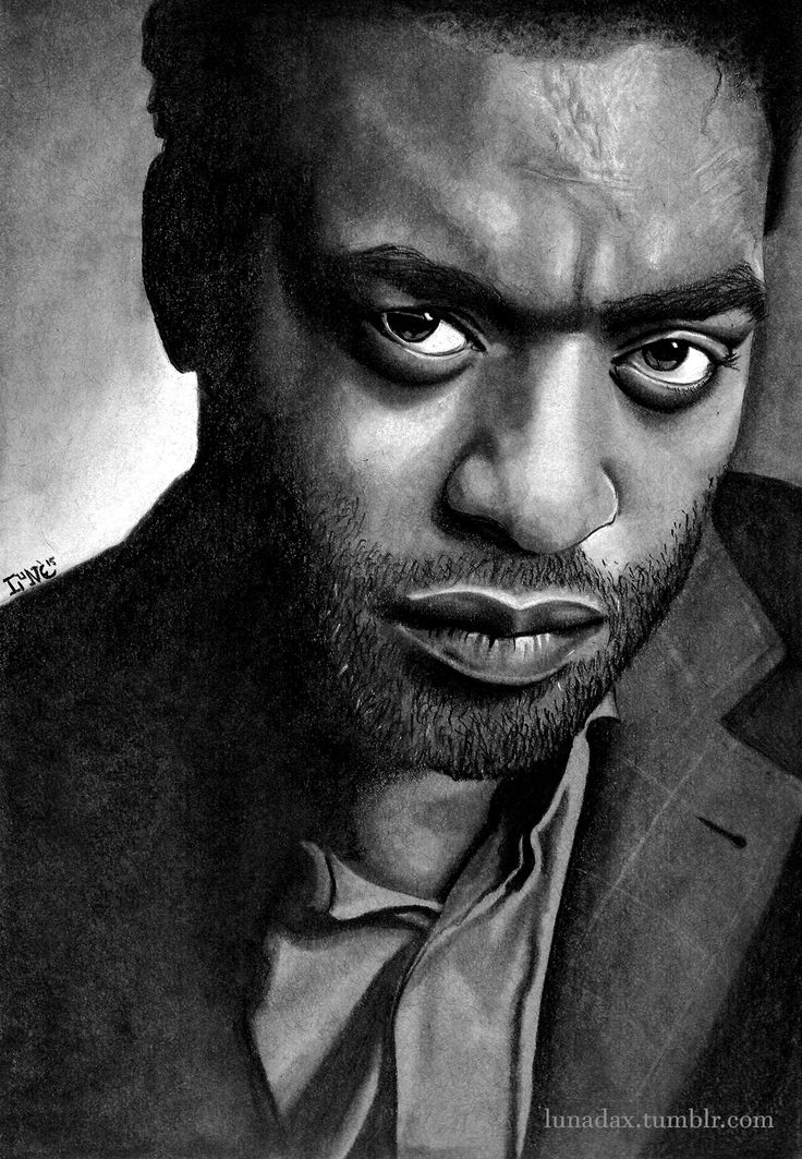 Chiwetel Ejiofor, Graphite Pencil and White Conté Pastel on Strathmore Toned Grey paper