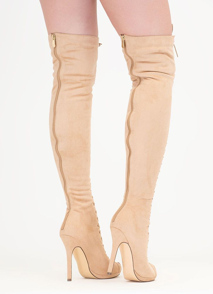 be0c027298a Revamp Faux Suede Over-The-Knee Boots NUDE