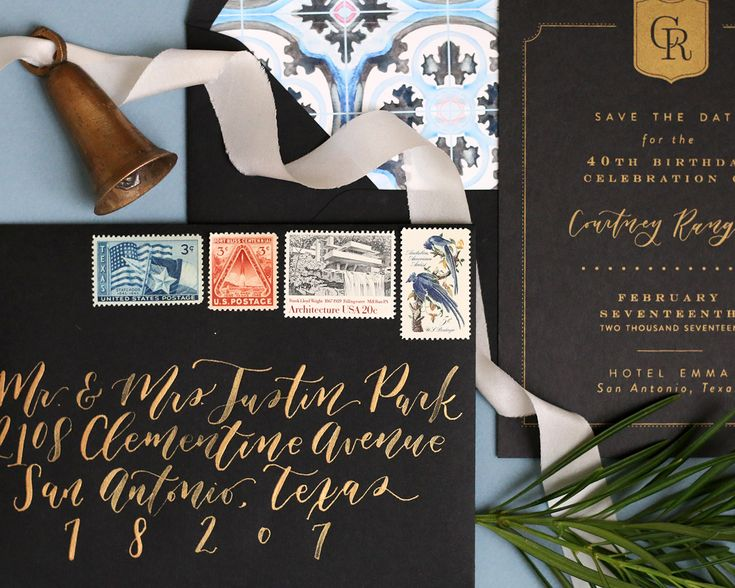 Superior Traditional Black And Gold Screen Printed Invitations By Goldie Design Co.