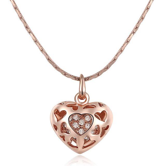 Luxury Brand 18 К Роуз Позолоченные Кристалл Сердце Кулон Ожерелья для Женщин Подарки На День Рождения Бесплатная Доставка 2030903263