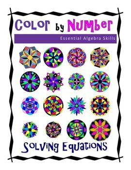 Solving Equations Color by Number Colors, Equation and