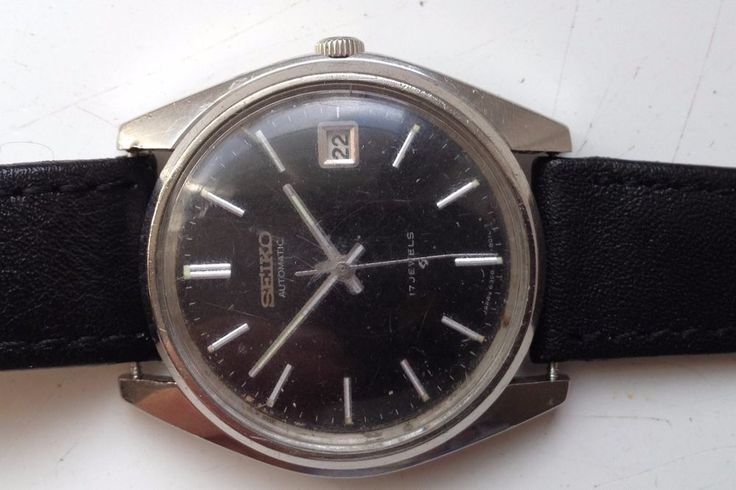 AUCTIONS ENDING ON WEDNESDAY 12 JULY FROM 8pm NEW AUCTIONS STARTING FROM 8pm........MENS VINTAGE SEIKO AUTOMATIC BLACK DIAL 6308-8010 WORKING CALENDAR WATCH