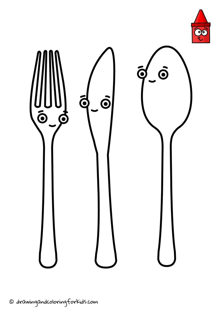 How To Draw Cutlery   Cutlery Coloring Page   Kitchen ...